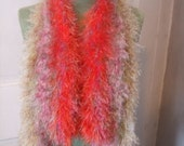 Set Of 3 Hand Knit Scarves SALE - Mango Beige Pink Free Shipping