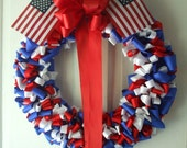 Wreath Patriotic 18 inch Red White Cobalt Blue Ribbon