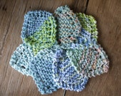 Denim Blue Face Scrubbies Set of 7 Eco Friendly Make up Removers