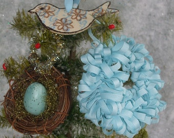 Wreath Nest Bird Holiday Ornament Collection 1 Set of Three