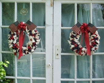 Fourth of July Ribbon Wreath Pair Patriotic 16 inch Red White and Blue Colonial Colors