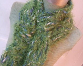 Scarf Hand Knit Greens Blues Super Soft Scarf SALE 50%OFF