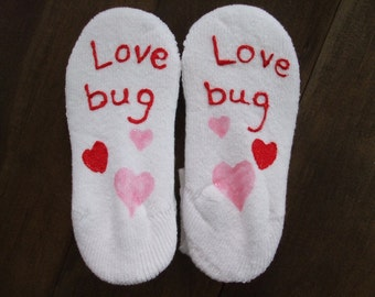 Valentine's Personalized Painted Socks Children's Size No Slip