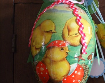 Easter Egg Peep Chick Shadow Box Vintage Erzegebirge