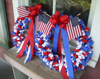 Patriotic Wreaths Pair Red White Cobalt Blue Ribbon Pair Fourth of July Memorial Day