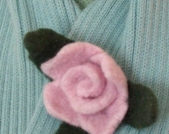 Brooch Felted Flower Pale Pink Handmade SALE