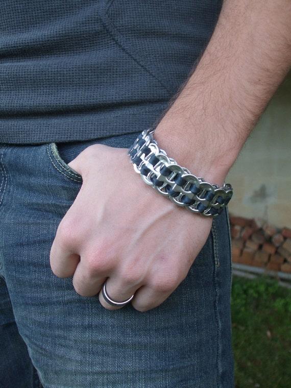 Men's FistiCuff Tab Top Cuff Bracelet Black Free Shipping