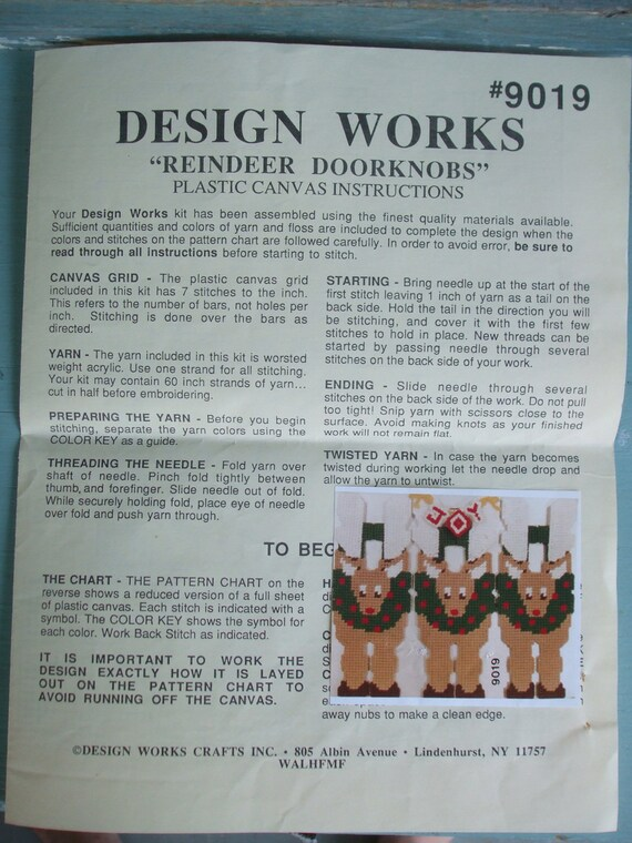 Needlepoint Pattern 9019 Reindeer Doorknobs Design Works Plastic Canvas