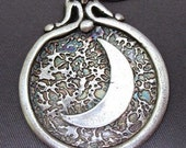 New Moon Fine Silver Pendant on Sterling Silver Chain