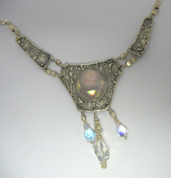 Lady of the Lake, Fine Silver, Fused Dichroic Glass, Necklace, Collar, Pendant