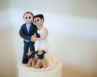 Bride and Groom Wedding Cake Topper With Pets