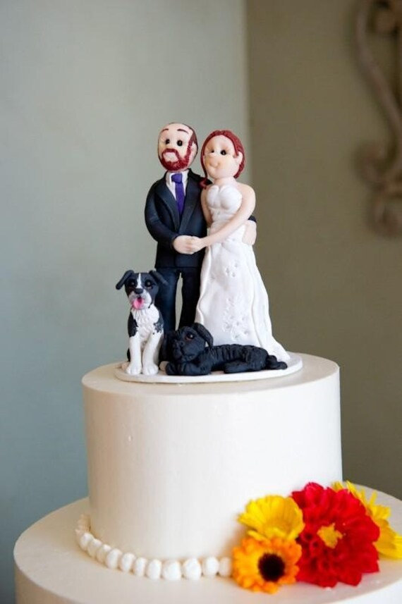 Custom Bride Groom with Pet  Wedding Cake Topper