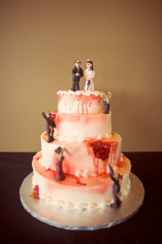 Bride and Groom Wedding Cake Topper with zombies