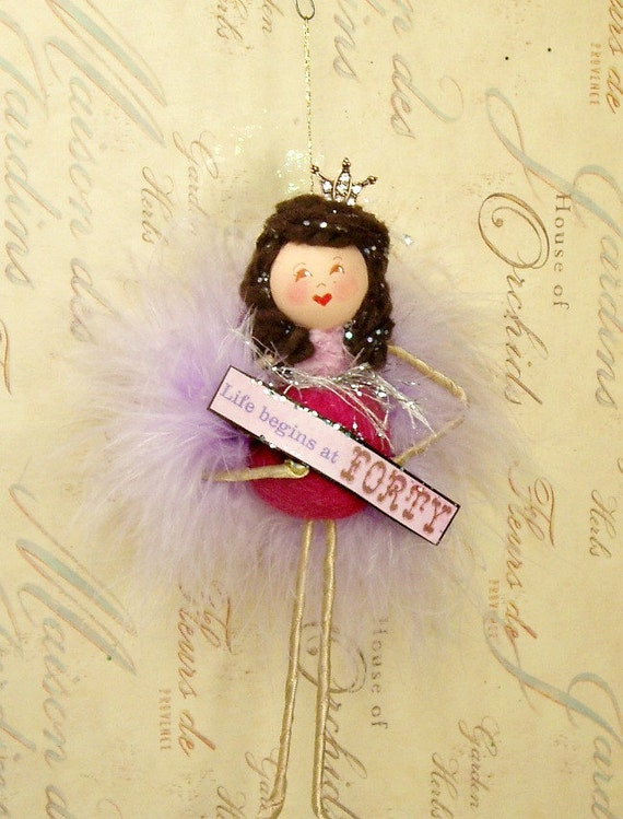 Life begins at forty birthday girl doll ornament