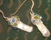 Comet Blues- Swarovski swirl and Stick Pearl Earrings.