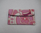 Mini Card Wallet or Coin Purse - Pink Abstract Mod Floral