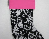 Christmas X'mas Stocking - Black & White Scroll with Hot Pink