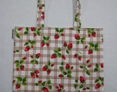 BIGGER Book Bag Tote Purse - Picnic Strawberry