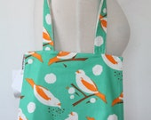 Purse Tote Bag - Turquoise Bird Seed - Rounded Shape