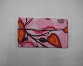 Mini Card Wallet or Coin Purse - Pink Flora Vines