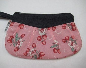 Retro Pink Strawberry Zipper Clutch or Wristlet