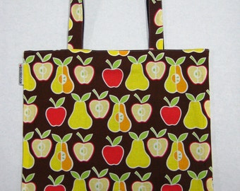 BIGGER Book Bag Tote Purse - Apples and Pears on Brown
