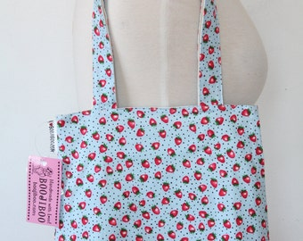 Purse Tote Bag - Small Strawberries on Blue - Rounded Shape