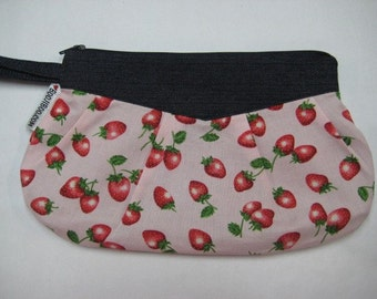 CUTE Strawberries on Pink Zipper Clutch or Wristlet