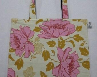 BIGGER Amy Butler Pink Peony Book Bag Tote Purse
