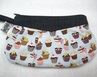 Mini Blue Cupcake Zipper Clutch or Wristlet