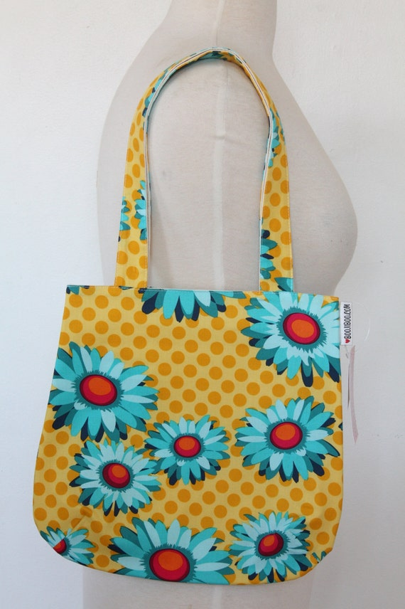 Purse Tote Bag - Yellow Pop Daisy - Rounded Shape