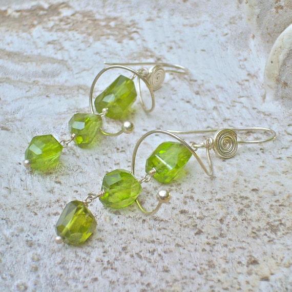 Peridot silver earrings, green, August birthstone, unique jewelry for women