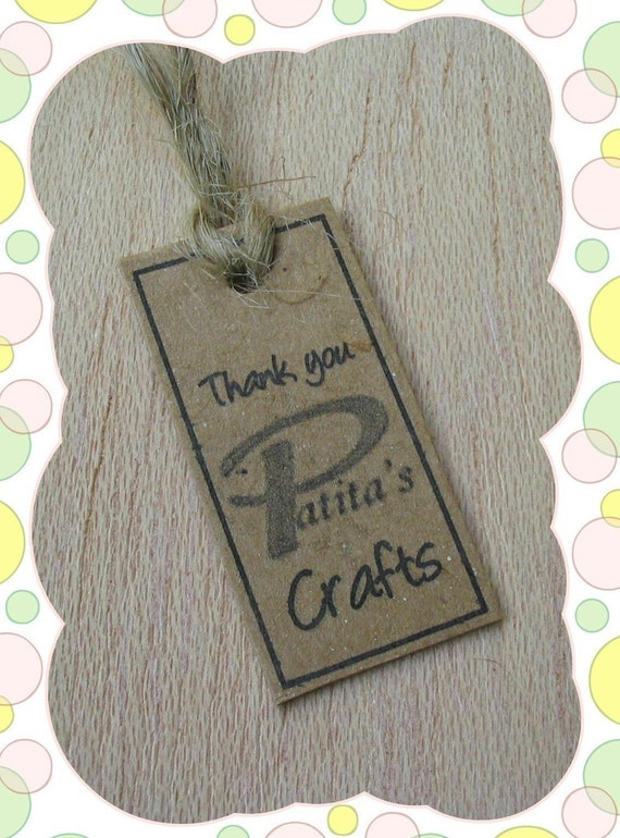 50 Personalized Store Logo Recycled Chipboard Hang Tags - Small