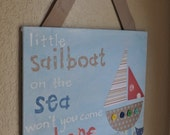Little Sailboat - Handpainted Collage Art