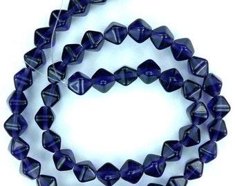 50 Tanzanite Czech Pressed Glass Bicone Beads 6mm