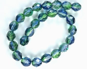 25 Blueberry/Green Tea Czech Firepolished Faceted Round Beads 8mm
