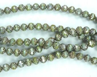 25 Luster Opaque Green Czech Firepolish Rosebud Glass Beads 7x8mm