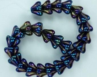 25 Iris Blue Czech Glass Beads Bell Flower 8x6mm