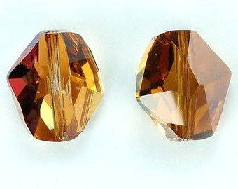 2 Crystal Copper Swarovski 5523 Cosmic Bead 16mm -Use coupon code LUIGIS10 for 10% off