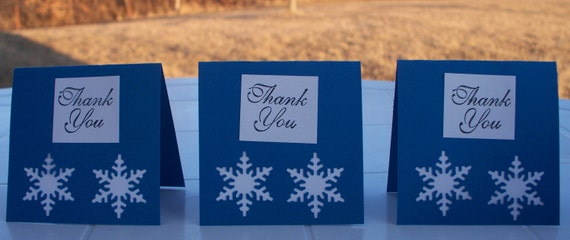 Black Friday Cyber Monday SALE  Mini Thank You Notes Blank Snowflake Set of Three