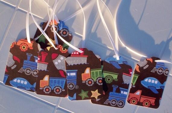 Gift Tag Boys Vehicle Print Large Set of 6