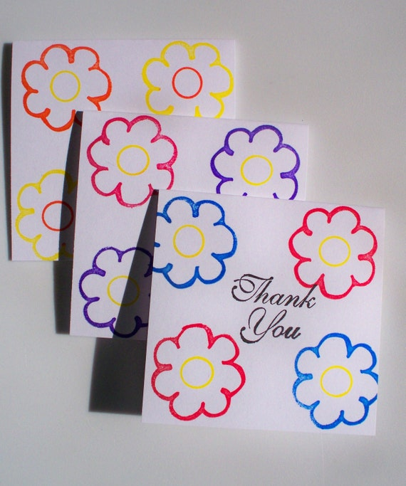Cards Mini Thank You Notes Spring Flowers Set of 3