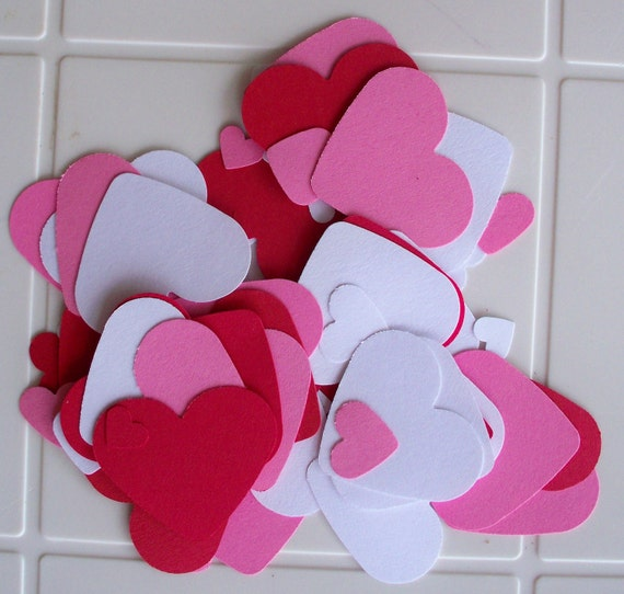 Assorted Paper Hearts Confetti Valentines Wedding or Anniversary Hand Punched Large, Medium, Small, Colors of Love Die Cut