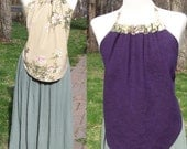 REVERSIBLE backless top Purple Hemp and Branches, Love your Mother Earth