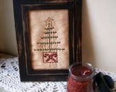 Winter Tree with Candy Canes Stitchery, Hand Stitched, WWHOFH
