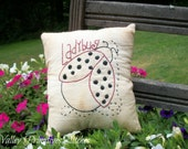 Primitive Ladybug Pillow Tuck, Hand Stitched, Summer, Ornie