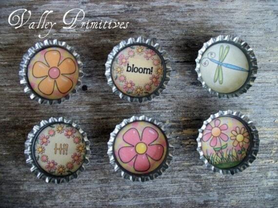 Bottle Cap Magnets - Flowers, Spring, Summer, Dragonfly, Set of 6