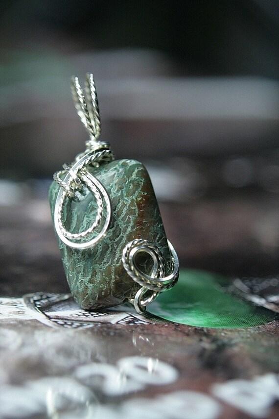Snakeskin Jasper Pendant Wire Wrapped in Sterling Silver