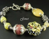 Yellow Jade and Pink Rhodonite Bracelet  (Cyprus Gardens)  by Gonet Jewelry Design