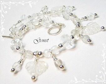 Clear Crystal Quartz (Frozen Hearts) Bracelet by Gonet Jewelry Design